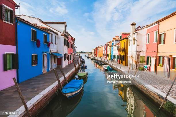 Street in colorful Burano island, Venice