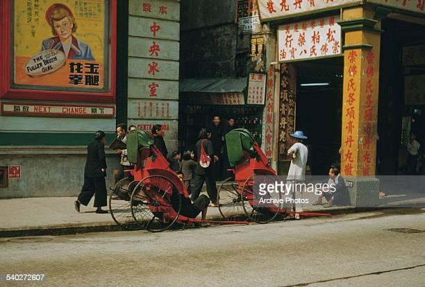 A street in downtown Hong Kong circa 1965