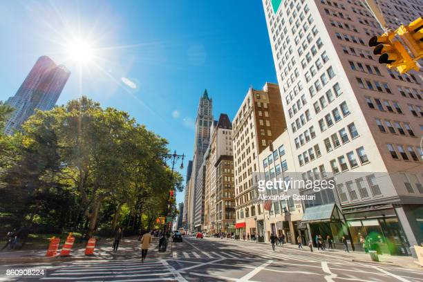 street in downtown manattan, new york city, usa - lower manhattan stock photos and pictures