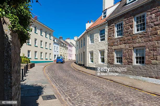 street in downtown st anne alderney - 暦月 ストックフォトと画像