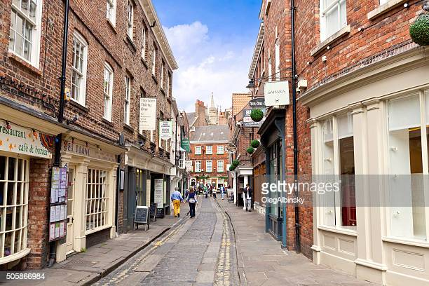 street in english town, york, united kingdom. - york stock photos and pictures