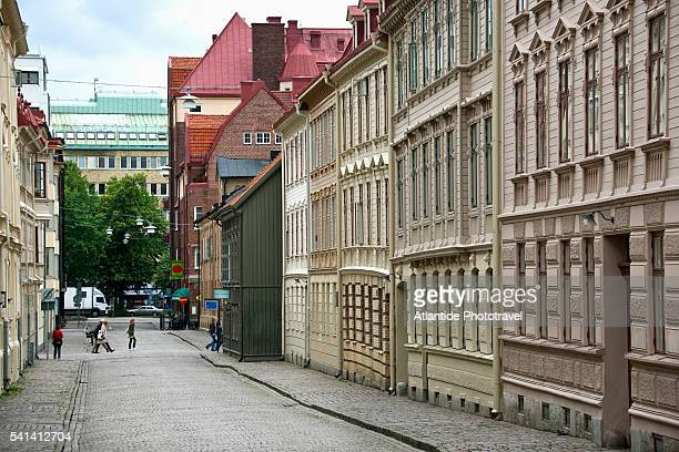 street in haga district in goteborg - gothenburg stock pictures, royalty-free photos & images
