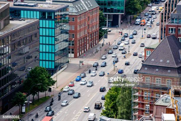 Street in Hamburg, Germany, high angle view