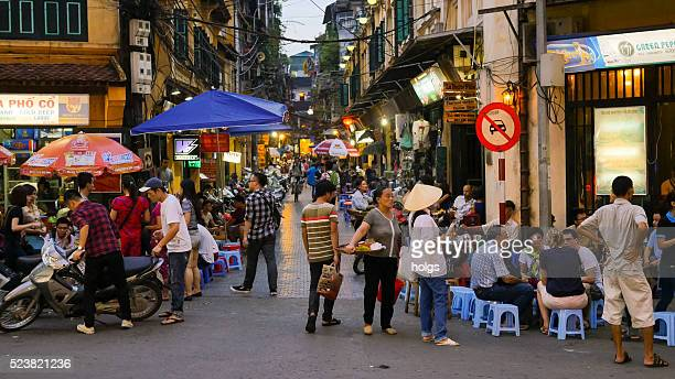 Street in Hanoi, Vietnam during twilight