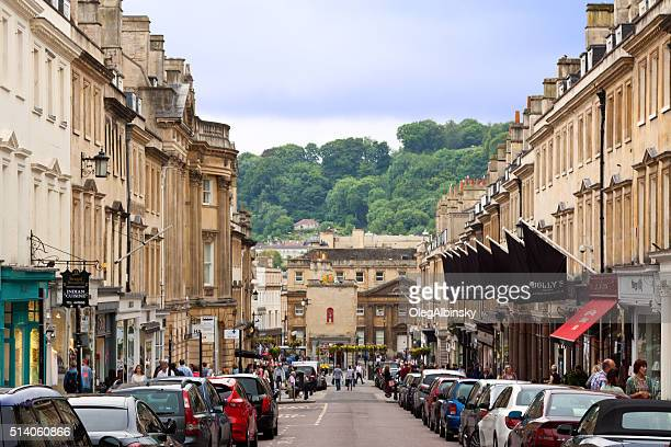 Street in Historic Center of Bath, Somerset, England, United Kingdom.