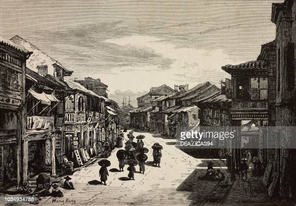 Street in Hong Kong China engraving from The Illustrated London News No 1887 October 9 1875