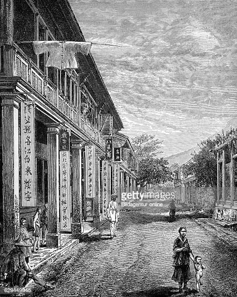 Street in hong kong historical illustration wood engraving circa 1888