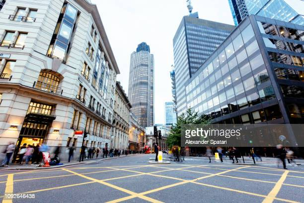 street in london financial district at dusk, england, uk - diminishing perspective stock pictures, royalty-free photos & images