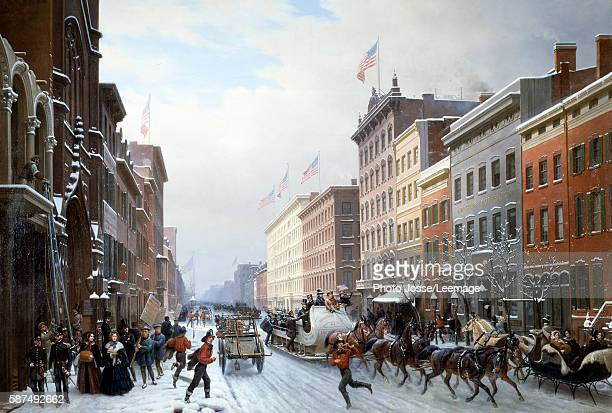 Street in Manhattan New York 1840 New York Winter Scene in Broadway Painting by Hyppolite Victor Valentin Sebron 1840 225 X 330 m FrancoAmerican...