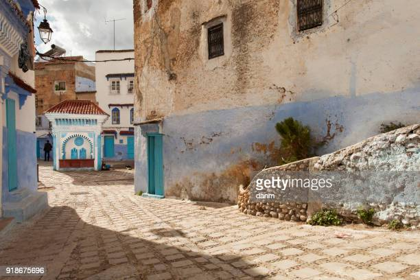 street in medina of blue town chefchaouen, morocco - north africa stock photos and pictures