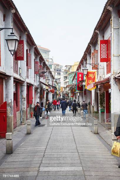 street in old red light district, macau - macao stock pictures, royalty-free photos & images