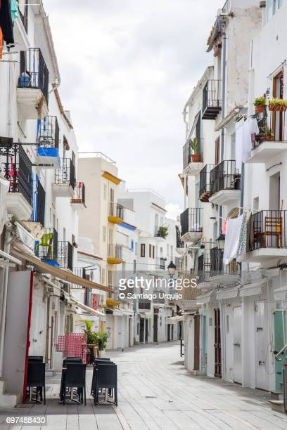 street in old town of ibiza - ibiza island stock pictures, royalty-free photos & images