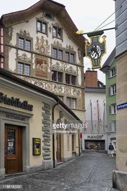 a street in old town of lucerne,switzerland. - emreturanphoto ストックフォトと画像