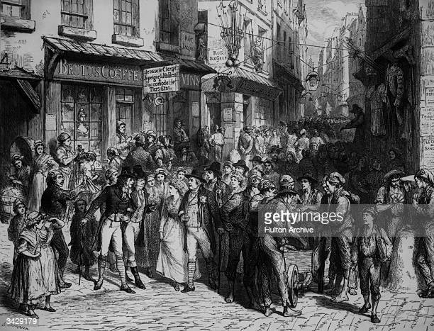 A street in Paris during the Reign of Terror Illustration to 'Victor Hugo' by Durand an American painter and engraver Bread is sold from a handcart...