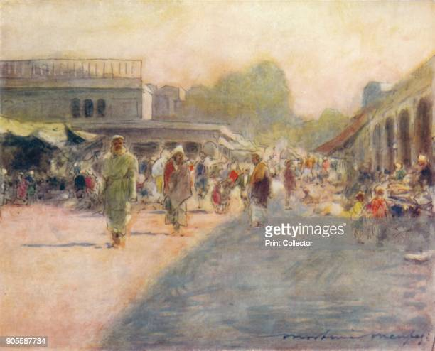 'A Street in Peshawur 1905 From India by Mortimer Menpes Text by Flora A Steel [Adam Charles Black London 1905] Artist Mortimer Luddington Menpes