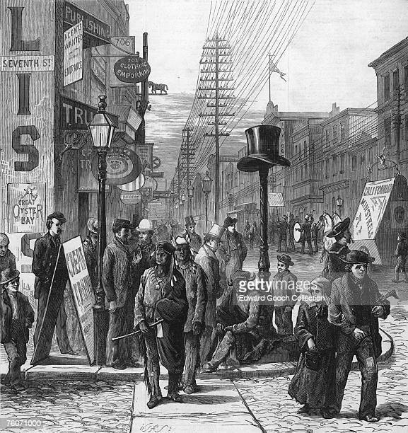 A street in Philadelphia Pennsylvania during the opening of the Centennial International Exhibition May 1876