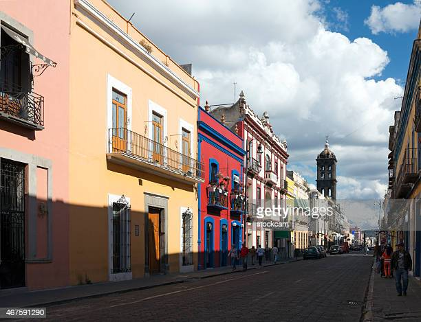 street in puebla in mexico - puebla mexico stock pictures, royalty-free photos & images
