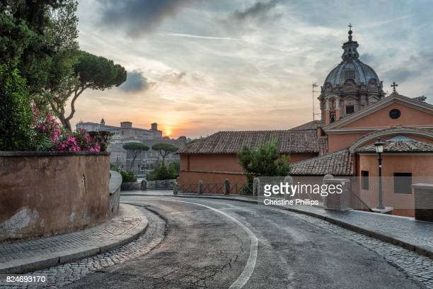 A street in Rome at sunrise