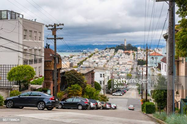 street in san francisco california - steep stock pictures, royalty-free photos & images