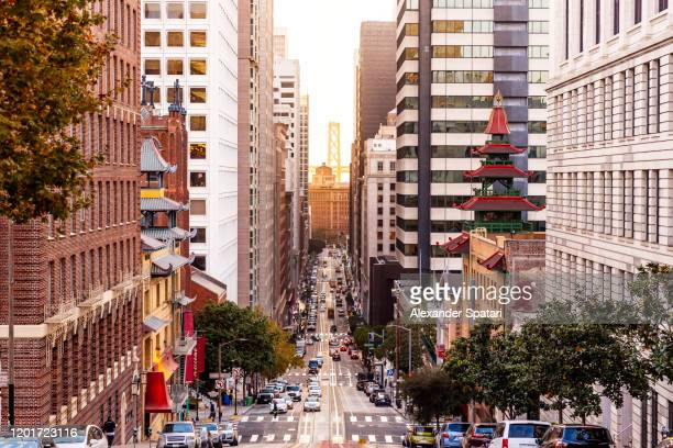 street in san francisco financial district, california, usa - san francisco california stock pictures, royalty-free photos & images