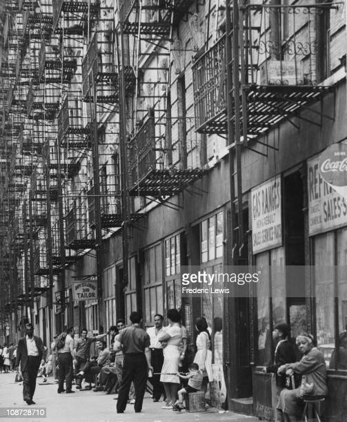 A street in Spanish East Harlem New York City circa 1960