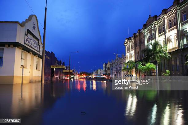 A street in the city centre is shown covered in flood water on January 5 2011 in Rockhampton Australia All eyes are on the central Queensland city of...