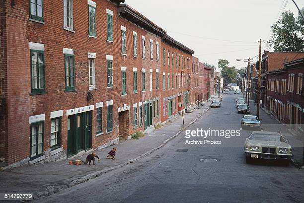 A street in the French quarter of Old Montreal Montreal Quebec Canada circa 1970