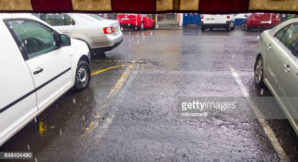 Street in the heavy rain, Ireland
