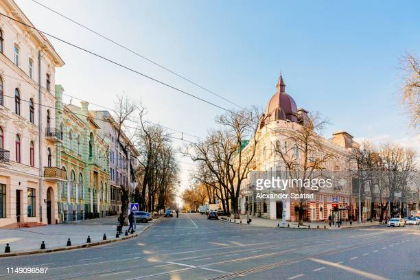 street in the historic center of odessa, ukraine - ukraine stock pictures, royalty-free photos & images