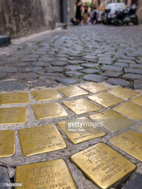 rom - jüdisches ghetto - portico d'ottavia - hd - holocaust - judentum - holocaust stock-fotos und bilder