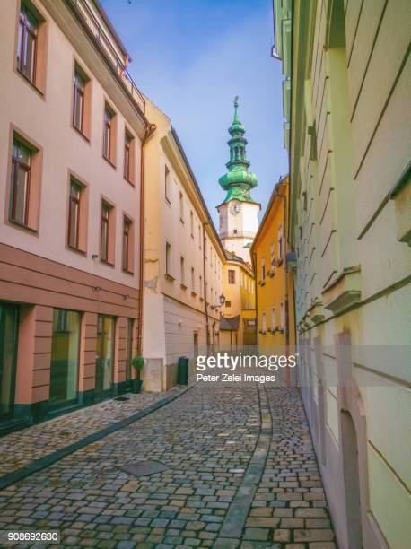 street in the old town (stare mesto) of bratislava, slovakia - bratislava stock pictures, royalty-free photos & images