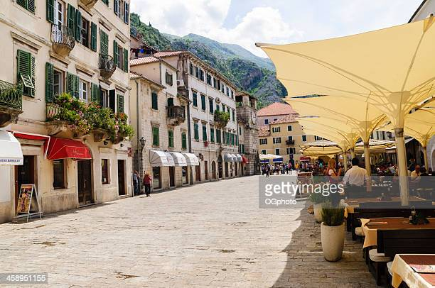 street in the old town of kotor, montenegro - ogphoto stock pictures, royalty-free photos & images