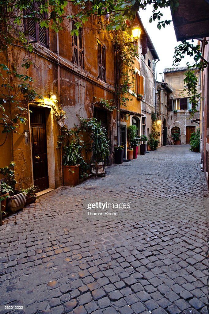 A street in the Trastevere section of Rome : Stock Photo