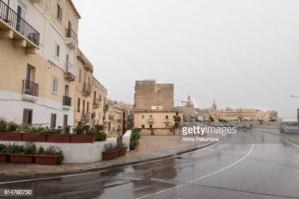 A street in Valletta, Malta, wet from light rain