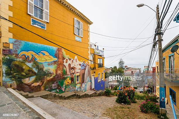 Street in Valparaiso and House Covered with Elaborate Graffiti