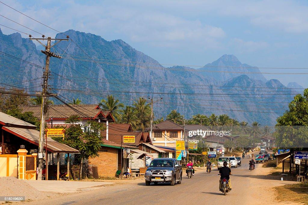 Street in Vang Vieng, Laos : Stock Photo