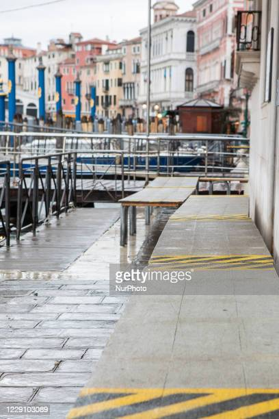 Street in Venice after the activation of Mose during the hight tide in Venice, Italy on October 15, 2020.