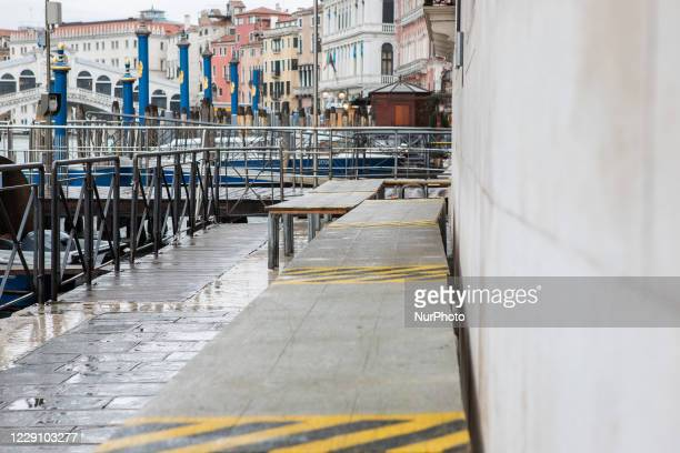 Street in Venice after the activation of Mose during the hight tide in Venice, Italy on October 15, 2020