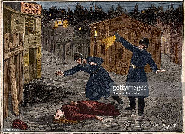 Street in Whitechapel: the last crime of Jack the Ripper, from 'Le Petit Parisien', 1891