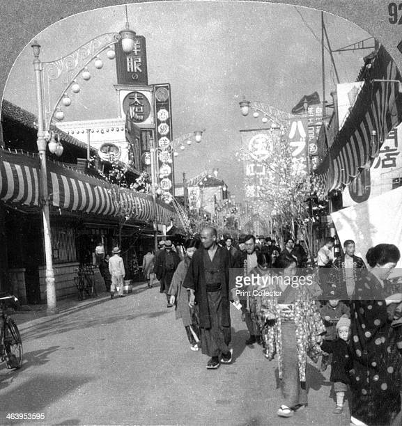 Street in Yokohama, Japan, 1900s. 'Once only a fishing village, Yokahama is today the chief port of Japan. It was almost obliterated in the great...