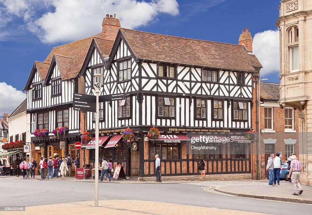 Street Intersection in Historic Center of Stratford-upon-Avon, Warwickshire, England, UK. : Stock Photo