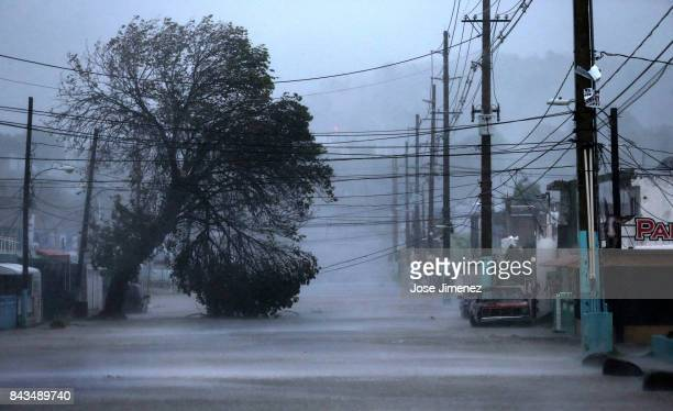 Street is flooded during the passing of Hurricane Irma on September 6, 2017 in Fajardo, Puerto Rico. The category 5 storm is expected to pass over...