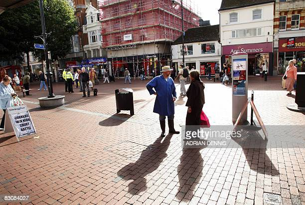 A street is pictured in Reading town centre in southwest England on October 1 2008 Britain's economy experienced zero growth in the second quarter...