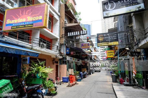Street is seen deserted after the government banned the celebration of the Buddhist New Year, locally known as Songkran, in Bangkok amid fears of the...