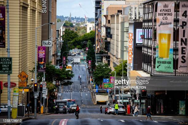 Street is seen in Brisbane's central business district on June 30 as the city falls quiet from a lockdown with Australia battling outbreaks of the...