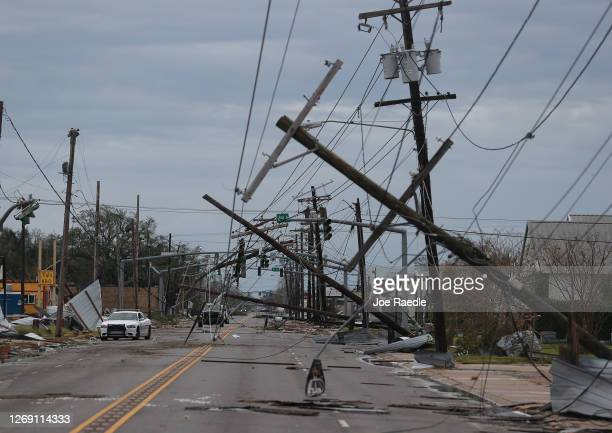 Street is seen strewn with debris and downed power lines after Hurricane Laura passed through the area on August 27, 2020 in Lake Charles, Louisiana...