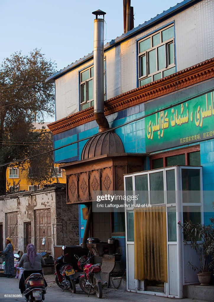 Street kebab restaurant in Yarkand, Xinjiang Uyghur Autonomous