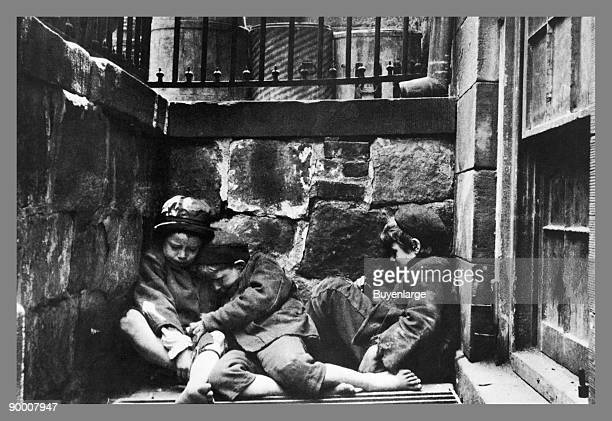 Street Kids Huddle Together on Mulberry Street