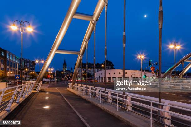street lamps on bridge at night, sibiu, transylvania, romania - sibiu stock photos and pictures