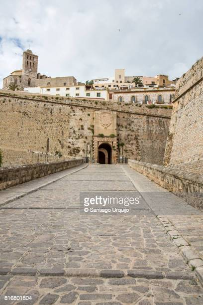 Street leading to fortified walls of Ibiza